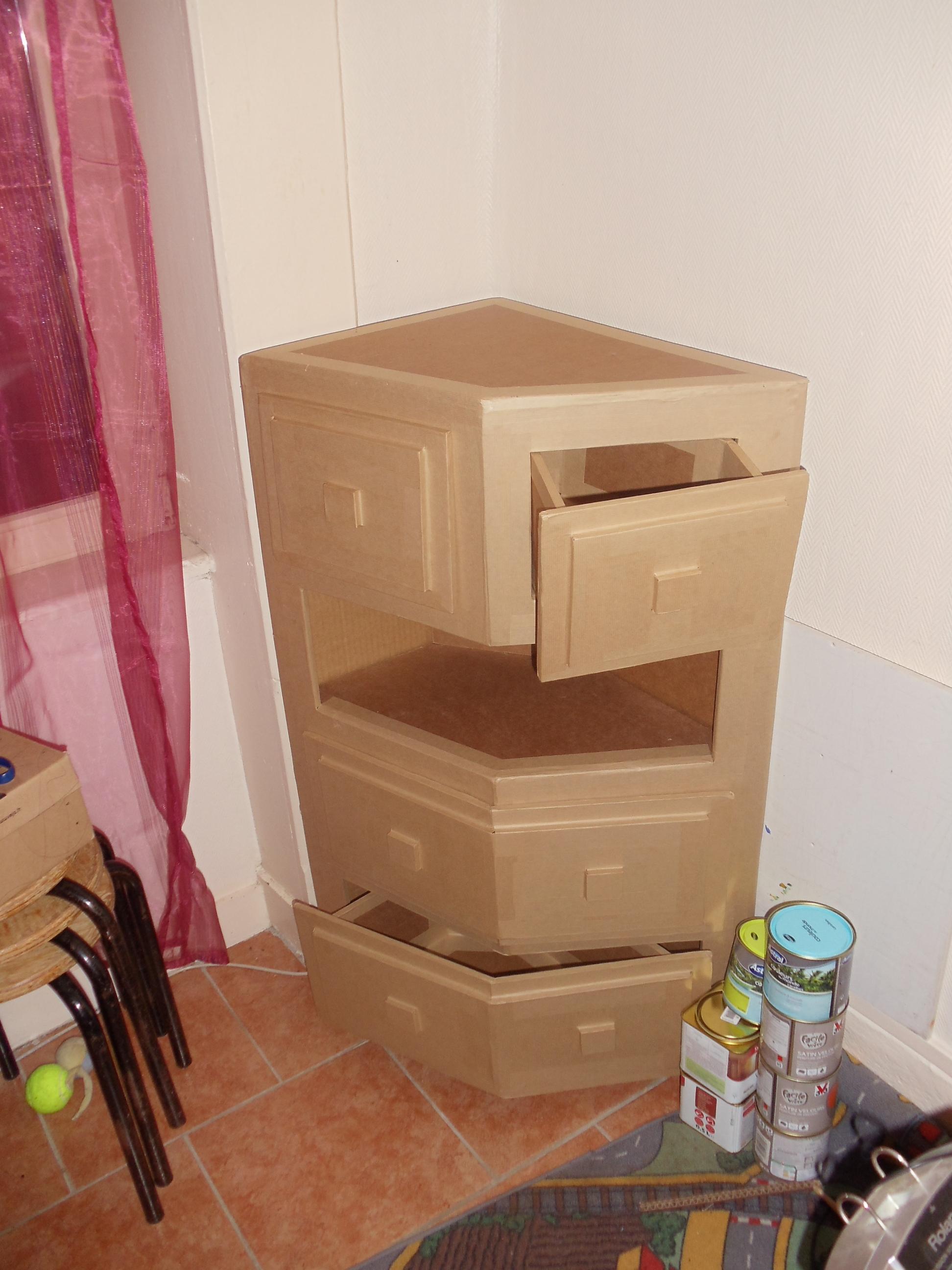 Fabriquer Une Bibliothèque En Carton meuble en carton d'angle avec tiroirs : david mercereau