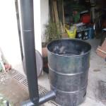 2m de tuyaux pour créer du tirage afin de brûler du carton inaccessible