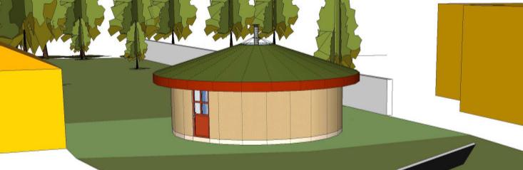 Paillourte : maison en paille ronde, charpente réciproque